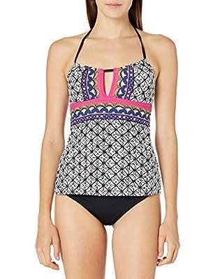 Trina Turk Women's Halter Tankini Swimsuit Top, Multi//Tanzania Scarf, 8