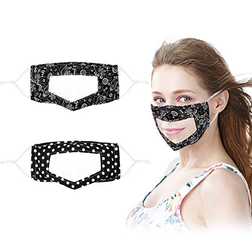 No Fog Clear Face Mask See Through Transparent Window Resuable Washable Visible Mouth Adult Kids Paisley Dot Black White