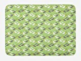 ABAKUHAUS Conejito Tapete para Baño, Conejitos Comer Zanahorias, Decorativo de Felpa Estampada con Dorso Antideslizante, 45 cm x 75 cm, Verde Dimgray