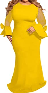 E-Scenery Plus Size Dress, Fashion Women Casual Long Sleeve Solid Mesh O-Neck Patchwork Dresses