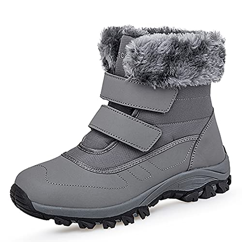 Damskie zimowe botki damskie futro podszewka ciepłe buty śnieżne puszyste antypoślizgowe wodoodporne buty trekkingowe, Szary - szary - 37 EU