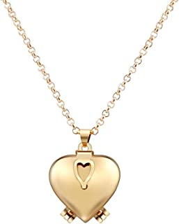 Heart Locket Necklace,Haluoo Creative Love Heart Expanding Expanding Photo Pendant Necklace Long Sweater Chain Necklace That Holds 4 Pictures Gifts for Women Girls Jewelry