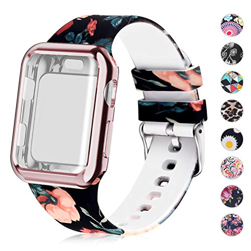 Compatible for Apple Watch Band with Screen Protector Case, Soft Silicone Sport Wristband for Apple Watch iwatch Series 3 2 1 (42mm,Floral Pattern)