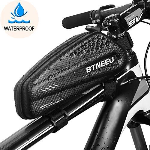 BTNEEU Bolsa Manillar Bicicleta Impermeable, Bolsa Cuadro Bicicleta Bolsa Tubo Bicicleta Bolsa Movil Bicicleta para iPhone XS MAX/8 Plus/7 Plus/Samsung Note8/S9/S10 Menos de 6.5'' Telefono (Negro)