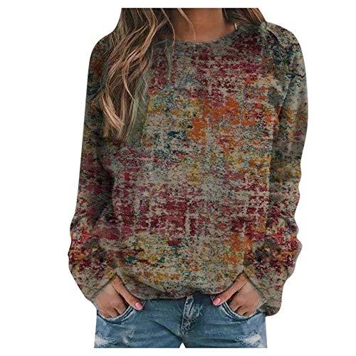 DAY8 Damen Neujahr Herbst Winter Modetrend Hohe Qualität Valentinstag Print Cool Sweatshirt Lässig Loose Langarm Crop Patchwork Bluse Pullover Tops