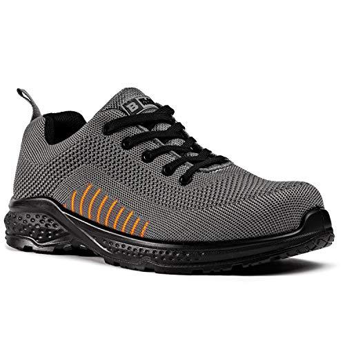 Zapatos de Seguridad para Hombres Flynit no Libres de Metal S1P SRC Ultraligero Puntera de Compuesto Kevlar Suela Intermedia 2222 Black Hammer (42 EU) ⭐