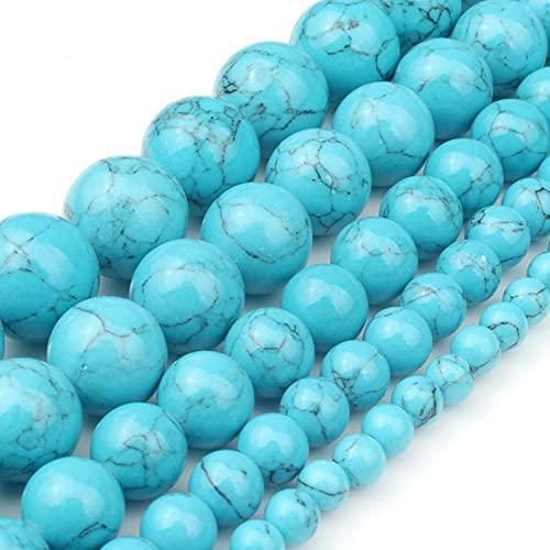YELVQI Borla Piedra Natural Blanco howlite Azul cáscara Turquesa Redonda Perlas Sueltas 15'Strand 4 6 8 10 12 mm Tamaño de selección para joyería DIY Crafts (Color : Blue howlite, Size : 6mm 62pcs)