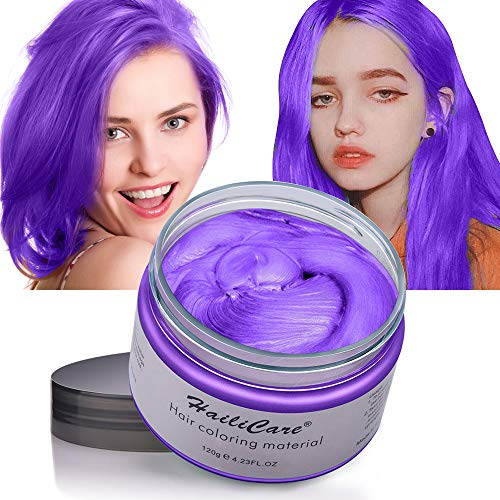 Temporary Hair Color Wax HailiCare 4.23 oz Wash Out Hair Dye Unisex Instant Hair Wax Natural Washable Hair Color for Men Women Kids Party Cosplay Date (Purple)