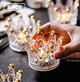 Vixdonos Votive Candle Holders Set of 6 Crown Glass Tealight Candle Holder for Wedding, Party and Home Decor (Gold)