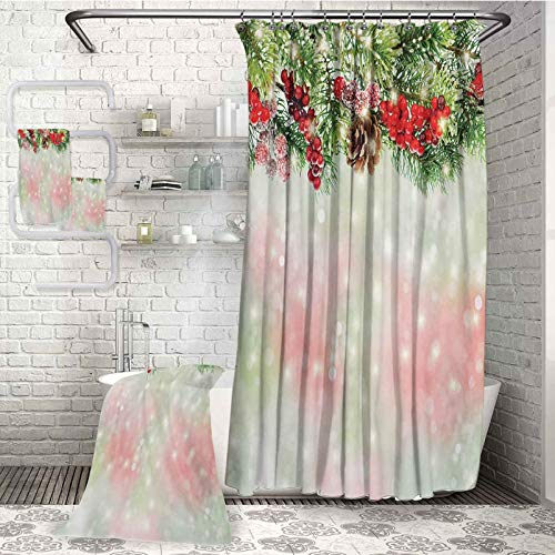 Christmas soft and comfortable Microfiber bath towel 4-piece bathroom set Evergreen Fir Branches with Red Ripe Holly Berries Blurred Backdrop Garland Very suitable for daily use (W72'xL72') (W27'xL55