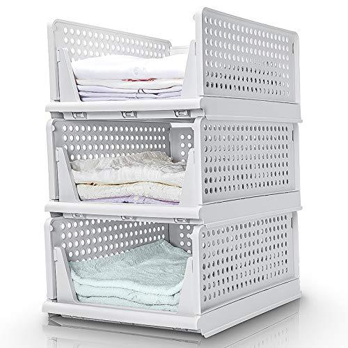 Yorbay Schubladenbox, 3er Set, Stapelbare Kleiderschrank Organizer, Regal Aufbewahrungsbox, Trennwand Stapelschubladen für Kleidung Küchen Schlafzimmer, Weiß (Groß: 43 x 33 x 19 cm)