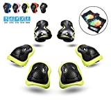 PHZ. Kids 8 in 1 Knee Pads Elbow Pads Wrist Guards Protective Gear Set for Rollerblading Skateboard Cycling Skating Bike (Green)