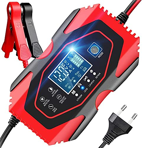 YDBAO Autobatterie Ladegerät 6A 12V 24V Batterieladegerät mit LCD Batterieladegerät Mit Lademodus für Motorrad und Lithium-Eisen-Batterien Kompatibel für...