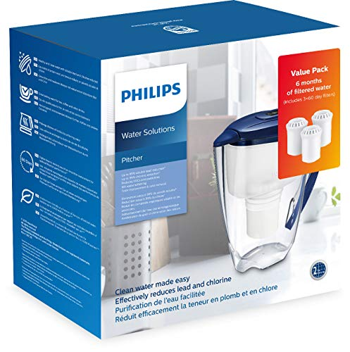 Philips Starter-Set Wasserfilter-Karaffe AWP2922 + 3 Filter-Kartuschen, gegen Kalk, Blei, Chlor, Pestizide, Mikro-Plastik, Wasser-Filter mit Mikrofiltration