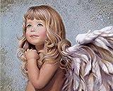 DIY Malen Nach Zahlen Geschenk Für Erwachsene DIY Geschenk Auf Leinwand Zeichnung Malen Nach Zahlen Engel Mädchen Für Kinder Erwachsene-No Frame 40X50Cm