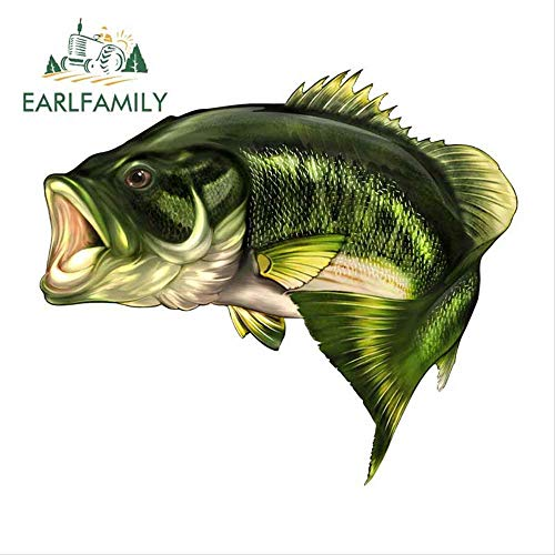 JYIP 43cm x 35.7cm Funny Large Mouth Bass Fish Fishing Sticker Boat Kayak Decals Car Wrap Vinyl Film Car Accessories Right