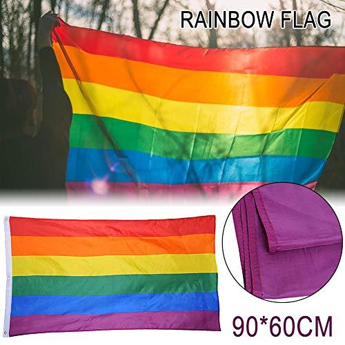 libelyef Drapeau arc-en-ciel Gay Pride - Couleurs vives et résistantes aux UV - Pour festival, carnaval, fête - 90 cm - 60 cm - Convient pour :