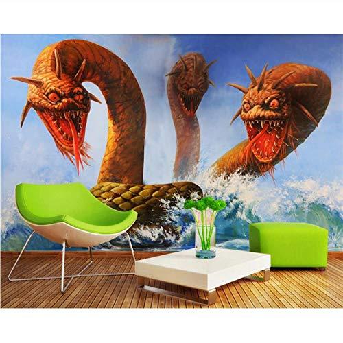 Pmhc fotobehang, 3D, stereo, horrordraak, 3 koppen, zeeslangen, tv-achtergrond, wanddecoratie 200 x 140 cm