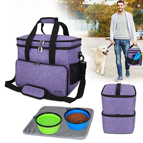 Teamoy Double Layer Dog Travel Bag with 2 Silicone Collapsible Bowls, 2 Food Carriers, 1 Water-Resistant Placemat, Pet Supplies Weekend Tote Organizer(Large, Purple)