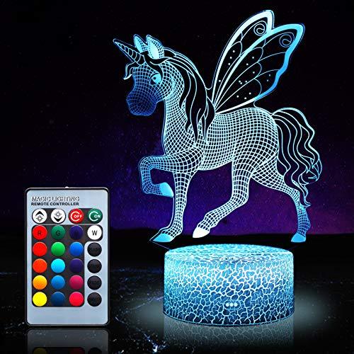 Einhorn Nachtlicht für Kinder, Einhorn Spielzeug für Mädchen, 16 Farben wechselnde Nachtlampe mit Fernbedienung 1159