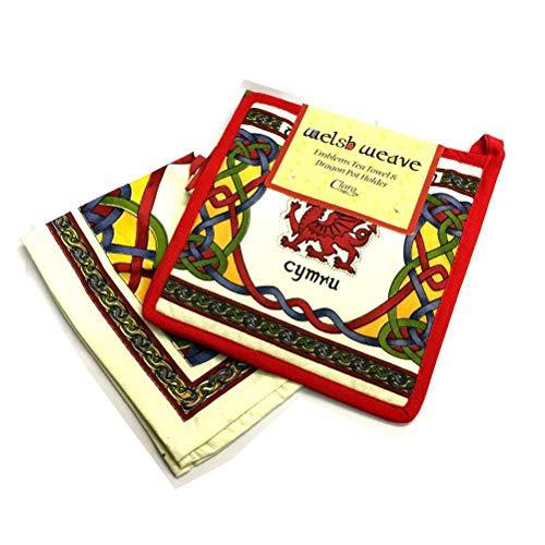 Royal Tara Celtic Weave Welsh Dragon Pot Holder and Tea Towel