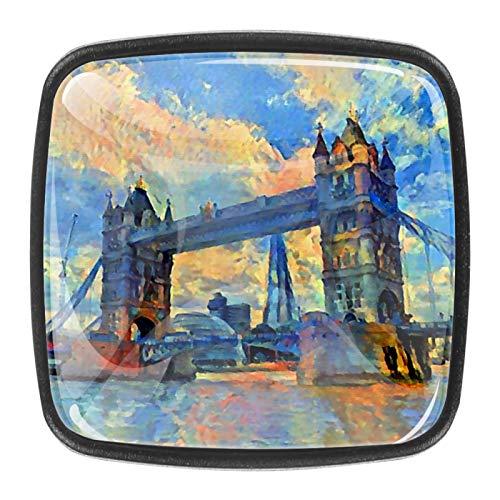 4 tiradores cuadrados de cristal transparente para cajones, pomos de armario con tornillos para cocina, aparador, armario, baño, pintura al óleo del Puente de Londres