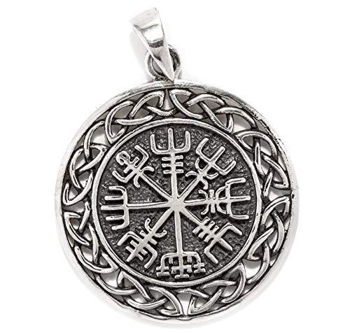 Windalf Vegvesir Vikings-Anhänger WINRAR Ø 3 cm Wikinger Kompass mit Knoten Schutz- & Kraft-Amulett 925 Sterlingsilber