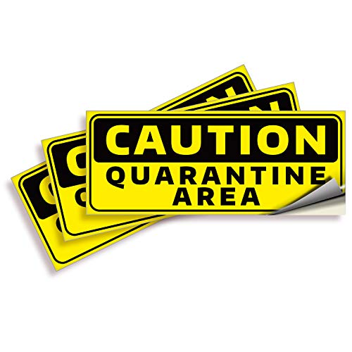 Caution Quarantine Area Stickers – 3 Pack 10x4 Inch – Premium Self-Adhesive Vinyl, Labels, Laminated for Ultimate UV, Weather, Scratch, Water and Fade Resistance, Indoor & Outdoor