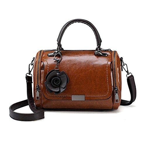 Tisdaini® Damenhandtaschen Mode klein Schultertaschen PU Leder Shopper Umhängetaschen Braun
