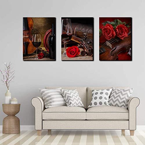 RHBNVR canvas schilderij 3 stuks rode wijndruiven schilderij gedrukt poster wijnglas schilderij muurkunst schilderijen voor huis restaurant decoratie (zonder lijst)