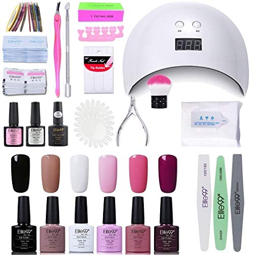 Elite99 Lámpara UV LED para Uñas 24w, 6 Colores Kit de Esmaltes Semipermanentes en Gel UV LED, Base y Top Coat, Semipermanentes, Removedor de Uñas y Accesorios 001