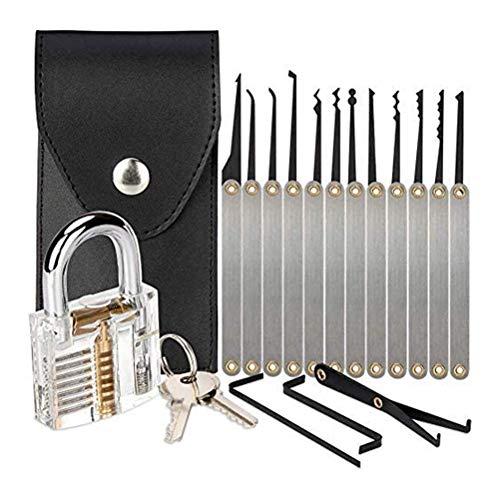Katyma 15 PCS Dietrich Set, Lockpicking Set transparenten Übungsschlössern Lockpicking-Werkzeug mit 15 Entriegelungs Werkzeuge