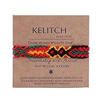 KELITCH ブレスレット ミサンガ手編み 織りブレスレット マクラメ エスニックユニセックス サイズ調整可能 赤&黒
