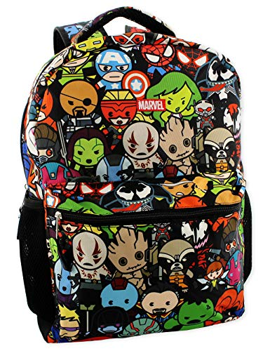 Marvel Kawaii Avengers Boys Girls 16' School Backpack (One Size, Black/Multi)