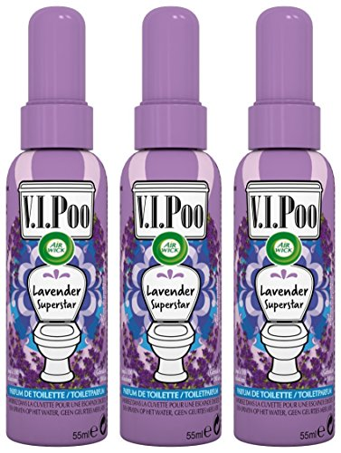 Air Wick Spray V.I. Poo Perfume Anti Olor, Fragrancia Lavanda Superstar 55 ml - Paquete de 3 unidades