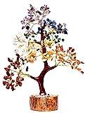 Spiritual Awareness Healing Stones Seven Chakra Natural Gemstone Bonsai Fortune Money Tree, Golden Wire 500 Beads, 10-12 Inches