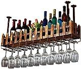 Weinliebhaber Bar Möbel& Weinhalter Weinregal aus Metall Wand befestigter Schmiede Retro Eisen Holz Weinflasche Rack-Bar Craft Hängen Zähler Becherhalter Zaun Goblet Gestell for...