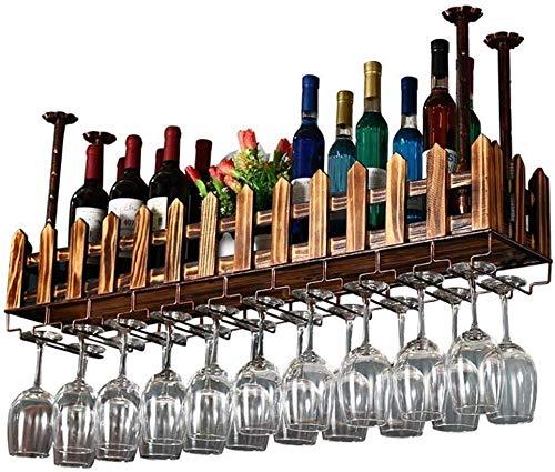 Weinliebhaber Bar Möbel& Weinhalter Weinregal aus Metall Wand befestigter Schmiede Retro Eisen Holz Weinflasche Rack-Bar Craft Hängen Zähler Becherhalter Zaun Goblet Gestell for Restaurants (Größe: 60