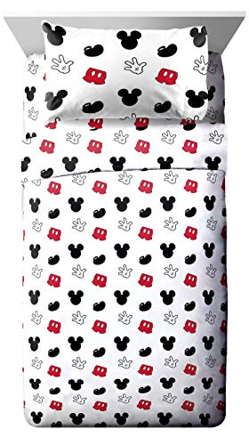 Jay Franco Disney Mickey Mouse Cute Faces Twin Sheet Set - Super Soft and Cozy Kid's Bedding - Fade Resistant Polyester Microfiber Sheets (Official Disney Product)