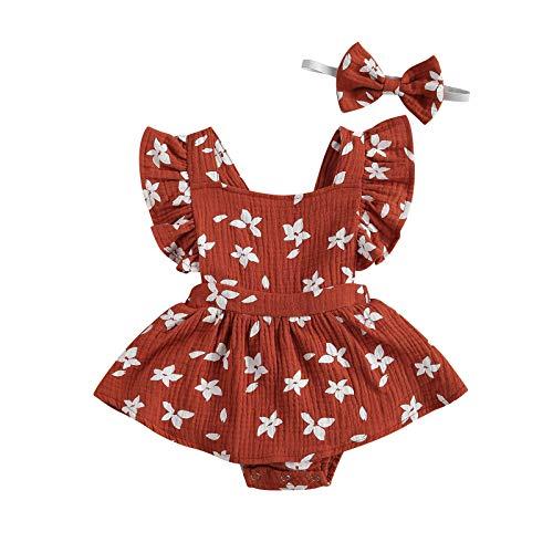 Vestido de lino para bebé, ropa de verano con volantes florales + diadema