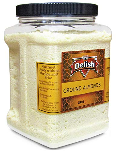 Gourmet Ground Almond Powder (Pure Kosher Meal) by Its Delish – 28 Oz Jumbo Reusable Container – Great Tasting Flour Substitute – All Natural Non-GMO Gluten Free – Keto Plant Based Diet Friendly