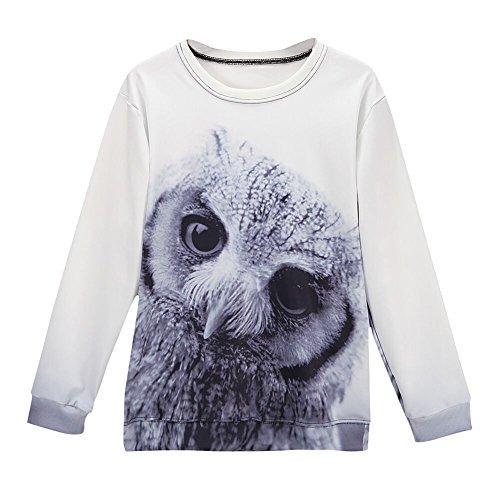 West See Damen Casual 3D Eule Sweatshirts Tiere Hoodie Pullover Langarmshirts Rundhals Tops (one Size, Weiß)