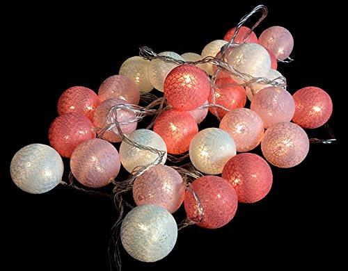 Morbuy Guirlande Lumineuse Boules, Piles Décoration Intérieur 10 LED Coton Boule Chaîne Lumièr pour Fête Noël Halloween Mariage Chambre Romantique Décor (1.8M / 10 Boule lumière, Rêve Rose)