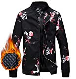 EMAOR Mens Men's Jacket, Winter Outdoor Quilted Cotton Padded Floral Print Bomber Jacket Windbreaker Coat Outerwear for Men, 8#Padded, US Large/42 = Tag 3XL