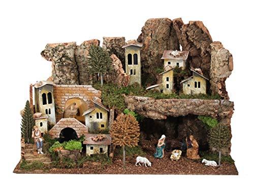 Ferrari & Arrighetti Landschaft mit Grotte, Brunnen, Heilige Familie Figuren und Lichter - Zubehör für Weihnachtskrippen Bertoni
