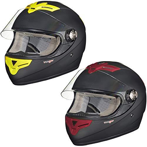 RT-823 Integralhelm Motorradhelm Integral Motorrad Roller Quad Helm rueger, Größe:XS (53-54), Farbe:Matt Schwarz, Ventfarbe:Gelb