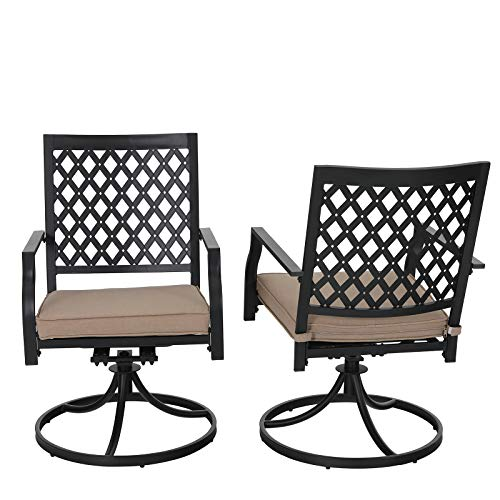PHI VILLA Swivel Patio Chairs Set of 2 Outdoor Dining Rocker Chair Support 300 lbs for Garden Backyard Bistro Furniture Set with Cushion