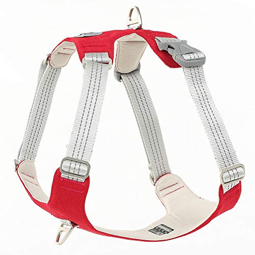 Dog Harness Heavy Duty 3M Reflective Oxford Puppy Vest Non Pulling with 2 Leash Clips(Red,S)