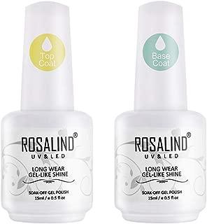 ROSALIND Gel Nail Polish Base and Top Coat Set (2x15ml) No Wipe High Gloss Top It Off Long-Lasting Base Foundation Soak Off Need Nail Lamp Cure