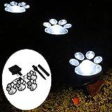 Solar Paw Print Lights Outdoor Yard Dog Decorative Solar Light for Garden Patio Walkway Decor-Gift for Animal Pet Cat Lover